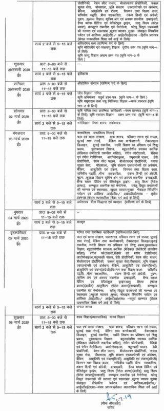 UP Board Class 12 Time Table 2020